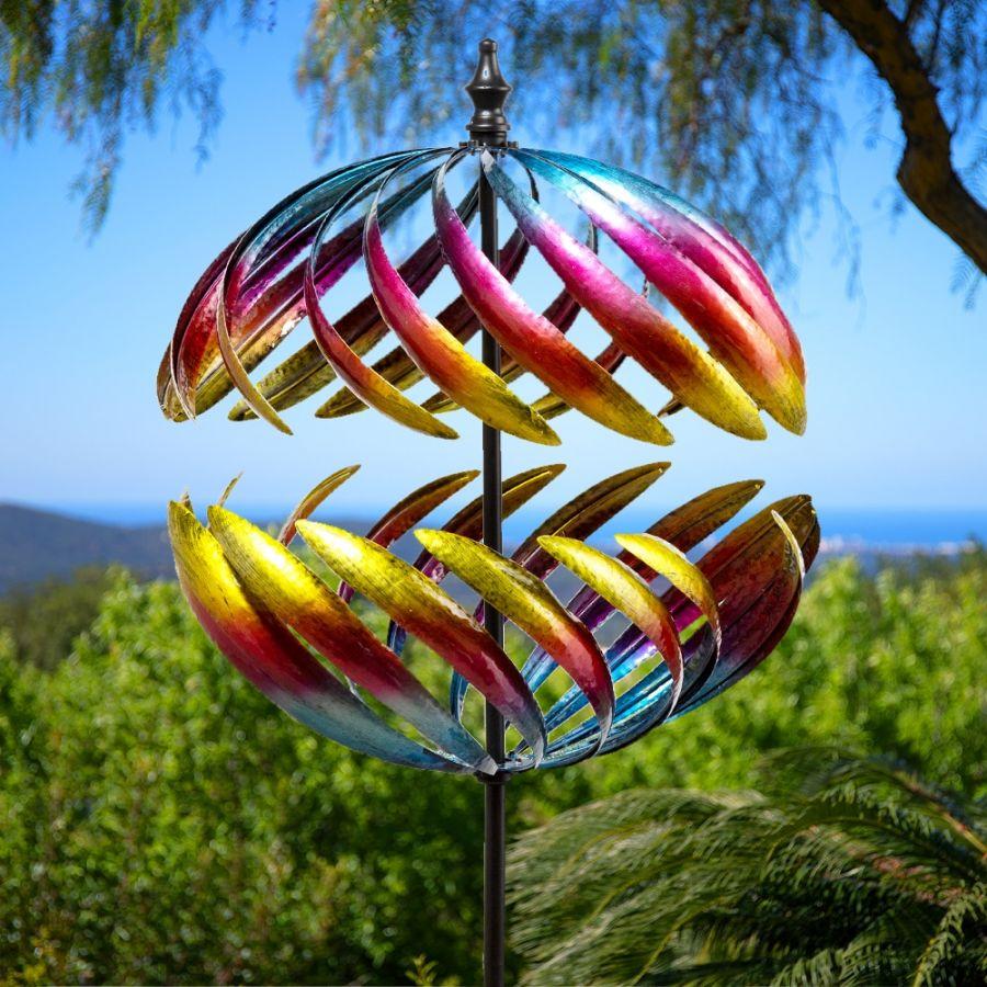 12cm Windrad / Windspiel mit Metalloptik, Garten, Primrose™ Modell