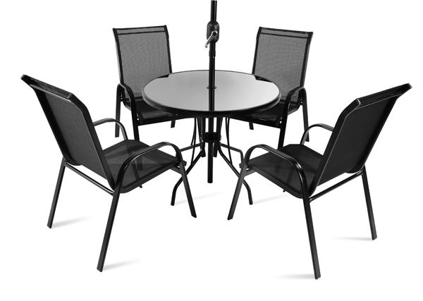Runder Gartentisch Mit 4 Stuhlen Und Sonnenschirm Saragossa 360 99