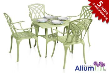alium washington quadratischer gartentisch in lindgr n mit 4 st hlen aus aluminiumguss 449 99. Black Bedroom Furniture Sets. Home Design Ideas