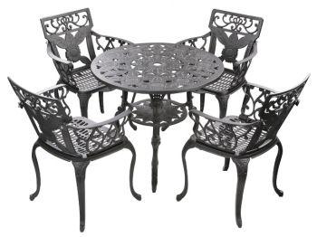 runder gartentisch mit 4 st hlen in gussaluminium schwarz madrid 449 99. Black Bedroom Furniture Sets. Home Design Ideas