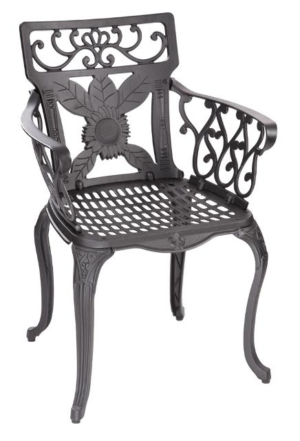 runder gartentisch mit 4 st hlen in gussaluminium schwarz. Black Bedroom Furniture Sets. Home Design Ideas