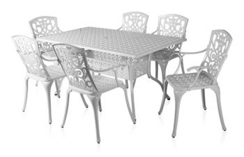 alium cleveland rechteckiger gartentisch in wei mit 6 st hlen aus aluminiumguss 729 99. Black Bedroom Furniture Sets. Home Design Ideas