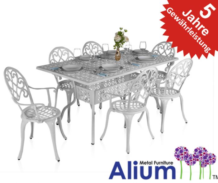 alium garfield rechteckiger gartentisch in wei mit 6 st hlen aus aluminiumguss 649 99. Black Bedroom Furniture Sets. Home Design Ideas