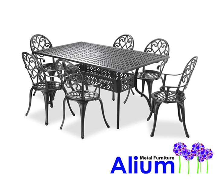 alium garfield rechteckiger gartentisch in schwarz mit 6 st hlen aus aluminiumguss 649 99. Black Bedroom Furniture Sets. Home Design Ideas
