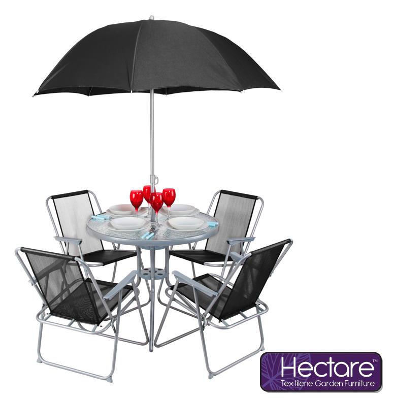 hectare mallory gartentisch mit sonnenschirm und 4 st hlen aus superpolytex 109 99. Black Bedroom Furniture Sets. Home Design Ideas