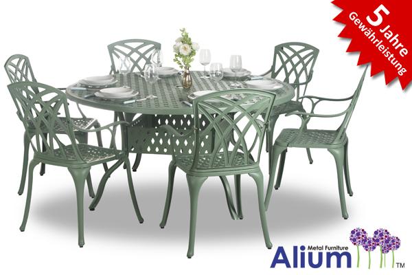 alium washington runder gartentisch in gr n mit 6 st hlen 799 99. Black Bedroom Furniture Sets. Home Design Ideas
