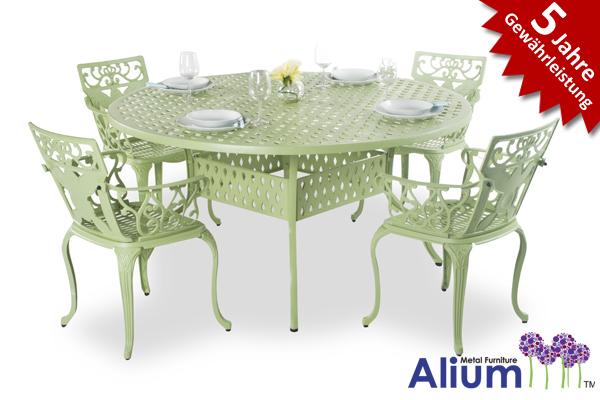 alium lincoln runder gartentisch in salbeigr n mit 4. Black Bedroom Furniture Sets. Home Design Ideas
