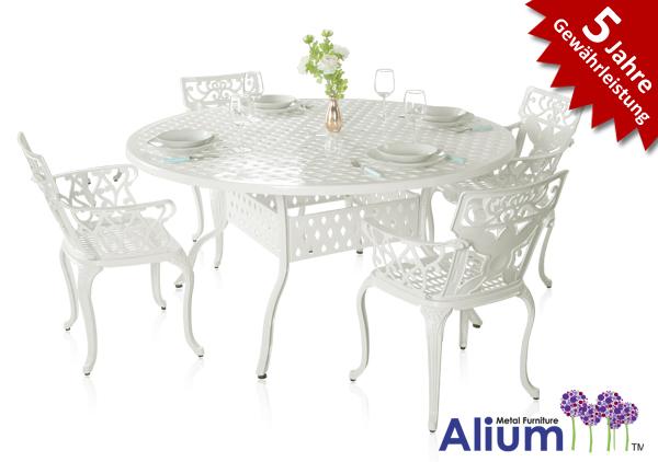 alium lincoln runder gartentisch in wei mit 4 st hlen 679 99. Black Bedroom Furniture Sets. Home Design Ideas