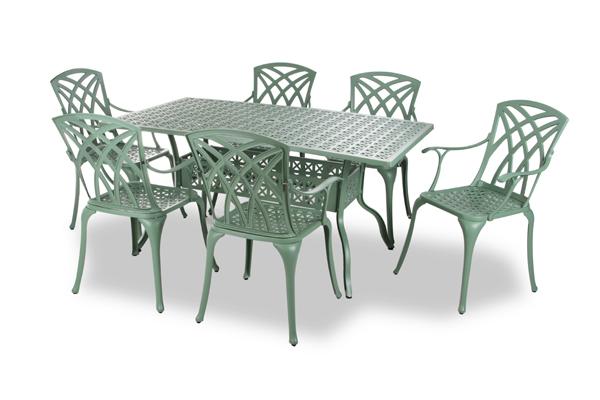 alium washington rechteckiger gartentisch in gr n mit 6 st hlen 749 99. Black Bedroom Furniture Sets. Home Design Ideas