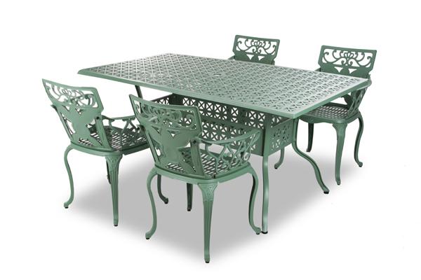 alium lincoln rechteckiger gartentisch in gr n mit 4. Black Bedroom Furniture Sets. Home Design Ideas