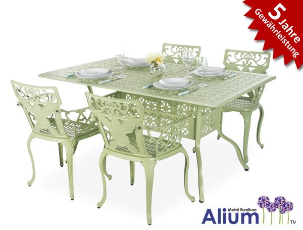 alium lincoln rechteckiger gartentisch in salbeigr n mit 4 st hlen 599 99. Black Bedroom Furniture Sets. Home Design Ideas