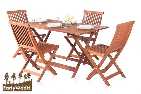 earlywood ilford tisch mit 4 st hlen aus hartholz 339 99. Black Bedroom Furniture Sets. Home Design Ideas
