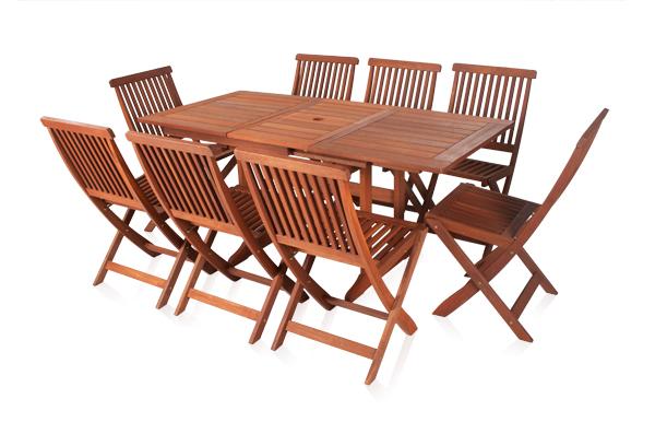 earlywood ausziehbarer gartentisch mit 8 ilford st hlen aus hartholz 679 99. Black Bedroom Furniture Sets. Home Design Ideas