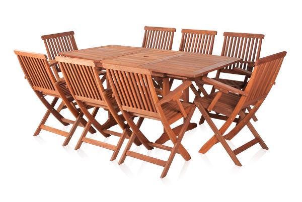 earlywood ausziehbarer gartentisch und 8 ilford st hle mit armlehnen aus hartholz 699 99. Black Bedroom Furniture Sets. Home Design Ideas
