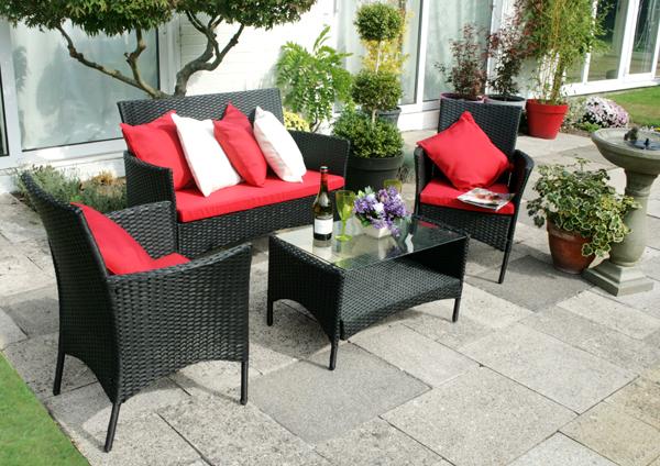arboro rattan gartenm bel set langtry mit roten sitzkissen schwarz 314 99. Black Bedroom Furniture Sets. Home Design Ideas