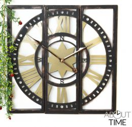 About Time™ 3-teilige Gartenuhr aus Metall in Antik-Optik, 40cm