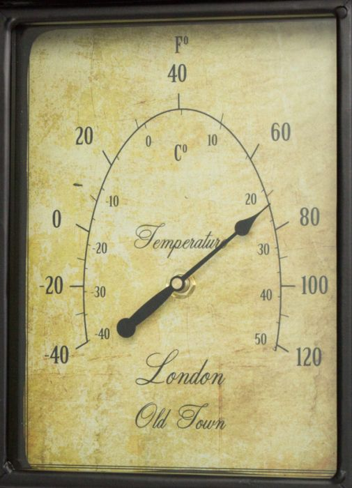 Bahnhofsuhr in Antikoptik mit Thermometer, 42cm, About Time™