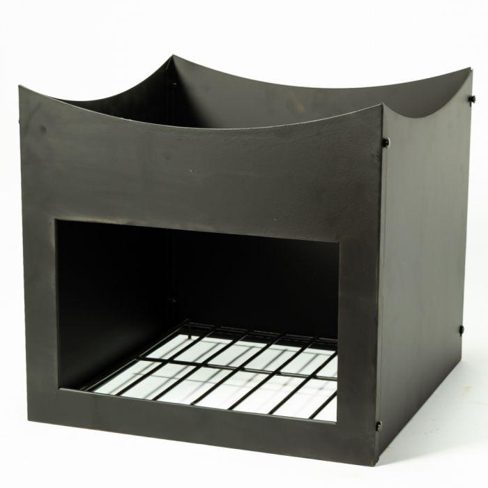 75cm feuerschale aus stahl inkl stand mit holzablage schwarz la fiesta 159 99. Black Bedroom Furniture Sets. Home Design Ideas