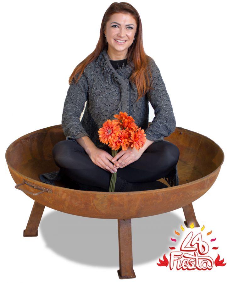 feuerschale aus gusseisen mit rostoptik 100cm 139 99. Black Bedroom Furniture Sets. Home Design Ideas