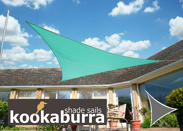 kookaburra 4 2m x 4 2m x 6 0m rechtwinkliges dreieck t rkis gewebtes sonnensegel wasserfest. Black Bedroom Furniture Sets. Home Design Ideas
