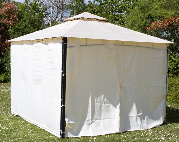 seitenw nde f r 3m x 3m pavillon mit markise 140g m elfenbein 59 99. Black Bedroom Furniture Sets. Home Design Ideas