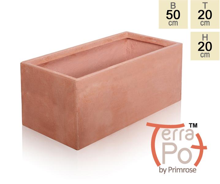 blumenkasten aus fiberglas ton in terrakotta optik 20cm x 50cm x 20cm 34 99. Black Bedroom Furniture Sets. Home Design Ideas