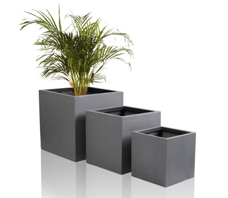 blumenk bel aus fiberglas dunkelgrau 30cm x 30cm x 30cm. Black Bedroom Furniture Sets. Home Design Ideas