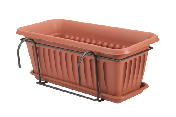 verbena blumenkasten aus kunststoff mit untersetzer und halterung b60cm x h20cm x t15 5cm 34. Black Bedroom Furniture Sets. Home Design Ideas