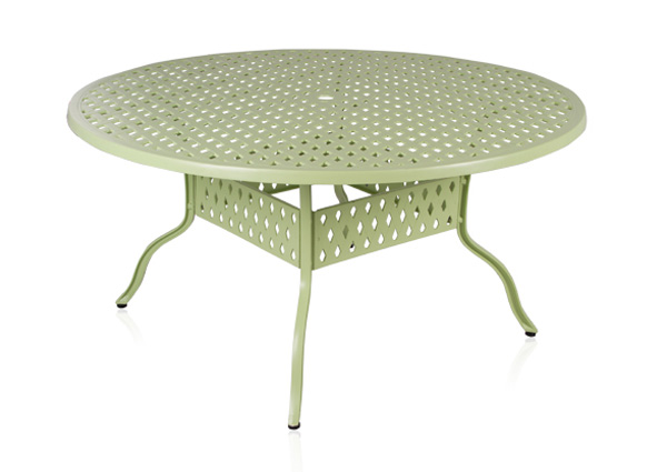 alium cleveland runder gartentisch in salbeigr n mit 6 st hlen aus aluminiumguss 859 99. Black Bedroom Furniture Sets. Home Design Ideas