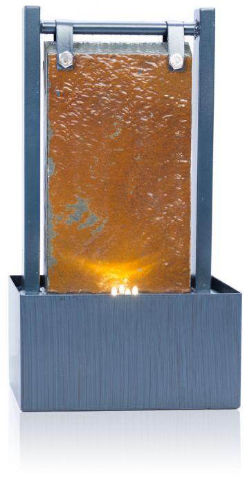 ambient tischbrunnen bernoulli aus schiefer mit zinkrahmen und led beleuchtung 36cm 49 99. Black Bedroom Furniture Sets. Home Design Ideas