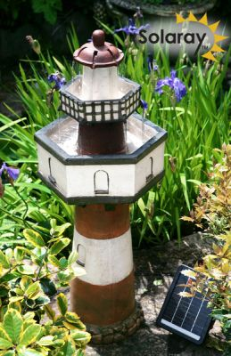 Solar kaskadenbrunnen belle tout leuchtturm 139 99 for Phare decoratif pour jardin