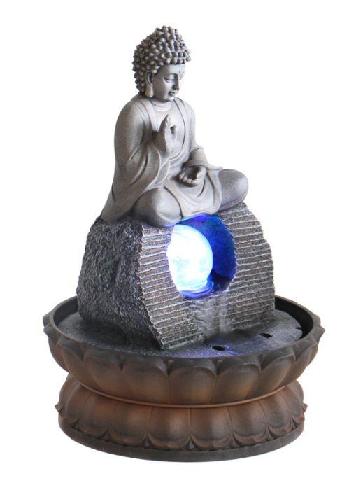 tischbrunnen buddha mit drehender kugel und beleuchtung 29 99. Black Bedroom Furniture Sets. Home Design Ideas