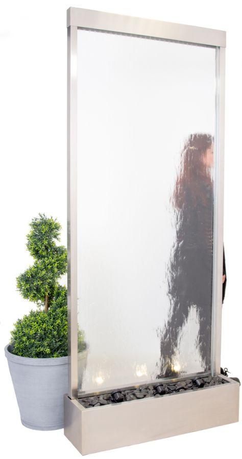 ambient 213cm x 92cm wasserwand aus edelstahl und glas mit beleuchtung 799 99. Black Bedroom Furniture Sets. Home Design Ideas