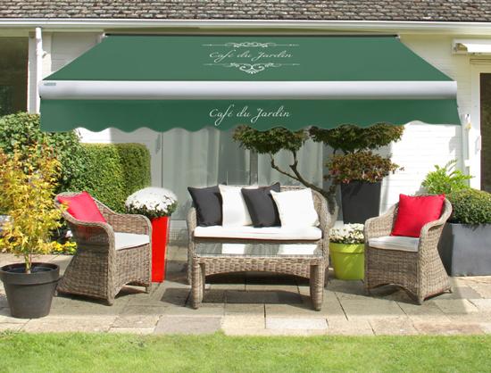 ersatzstoff cafe du jardin inkl volant f r 3 5m x 2 5m markisen gr n 134 99. Black Bedroom Furniture Sets. Home Design Ideas