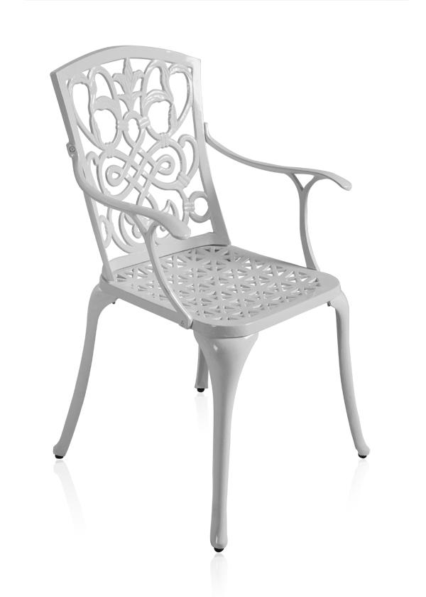 alium cleveland runder gartentisch in wei mit 6 st hlen aus aluminiumguss 859 99. Black Bedroom Furniture Sets. Home Design Ideas