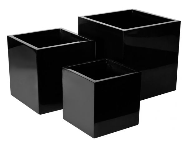 blumenk bel aus fiberglas schwarz 50cm x 50cm x 50cm. Black Bedroom Furniture Sets. Home Design Ideas
