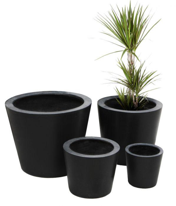 Runder Blumenkübel aus Polystone, schwarz, 40cm x 50cm 199,99 €