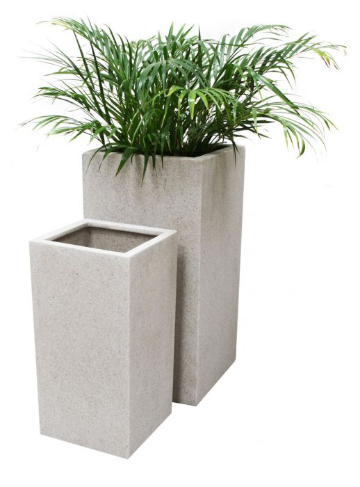 Hoher Blumenkübel aus Polyterrazzo, weiß, 60cm x 30cm x 30cm 54,99 €