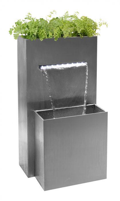 Brunnen Edelstahl.Bepflanzbarer Wasserfall Brunnen