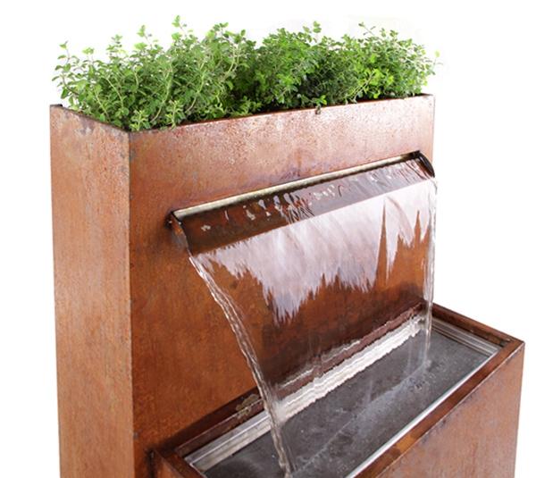 Bepflanzbarer Wasserfall Brunnen Langley Aus Cortenstahl Mit Led